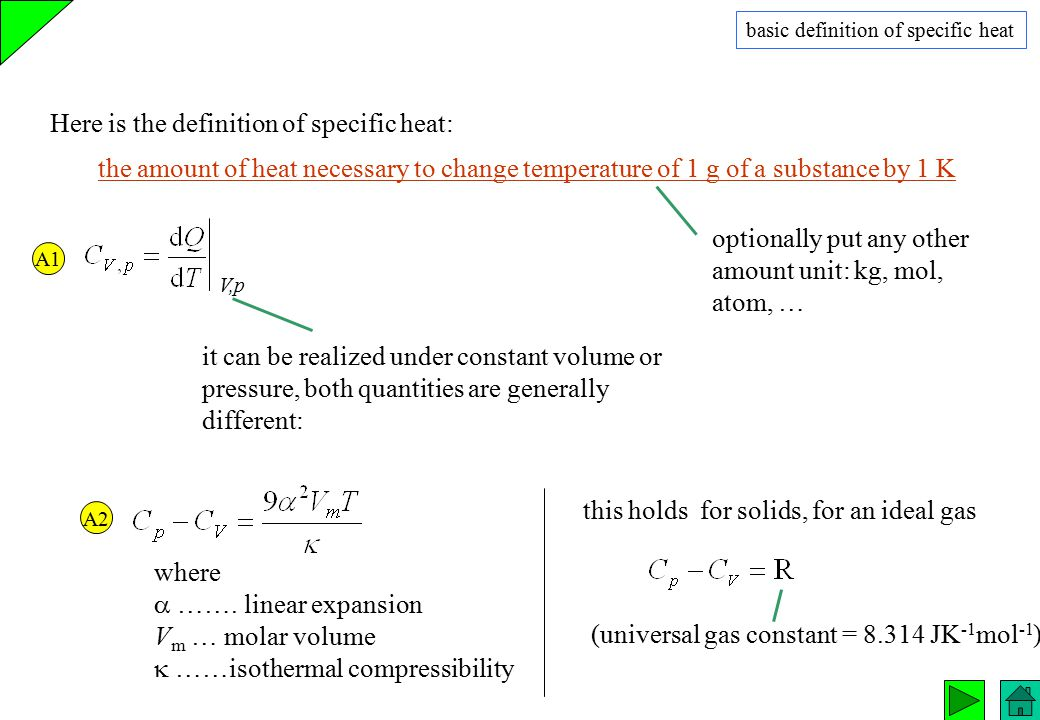 Here is the definition of specific heat: