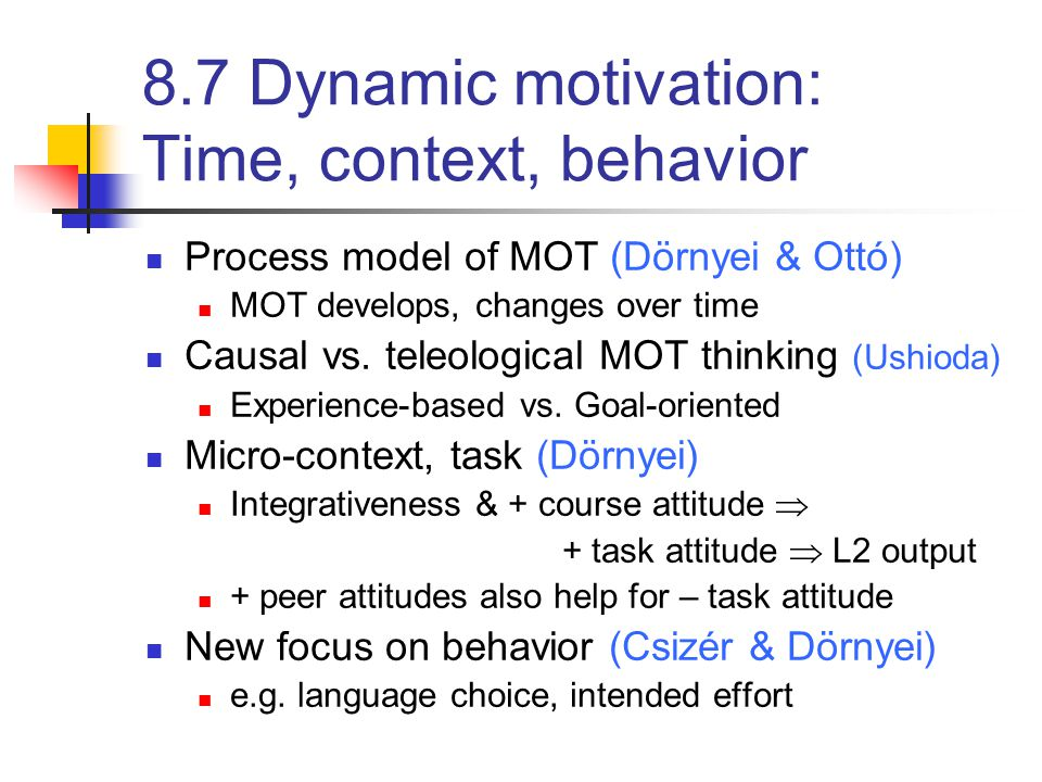 8.7 Dynamic motivation: Time, context, behavior