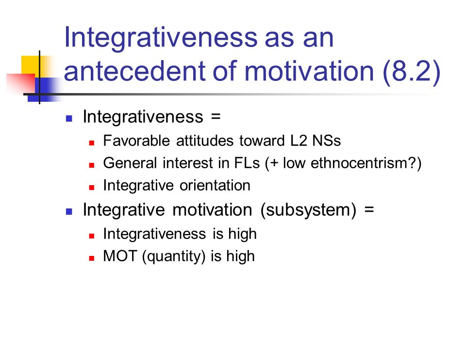 Integrativeness as an antecedent of motivation (8.2)
