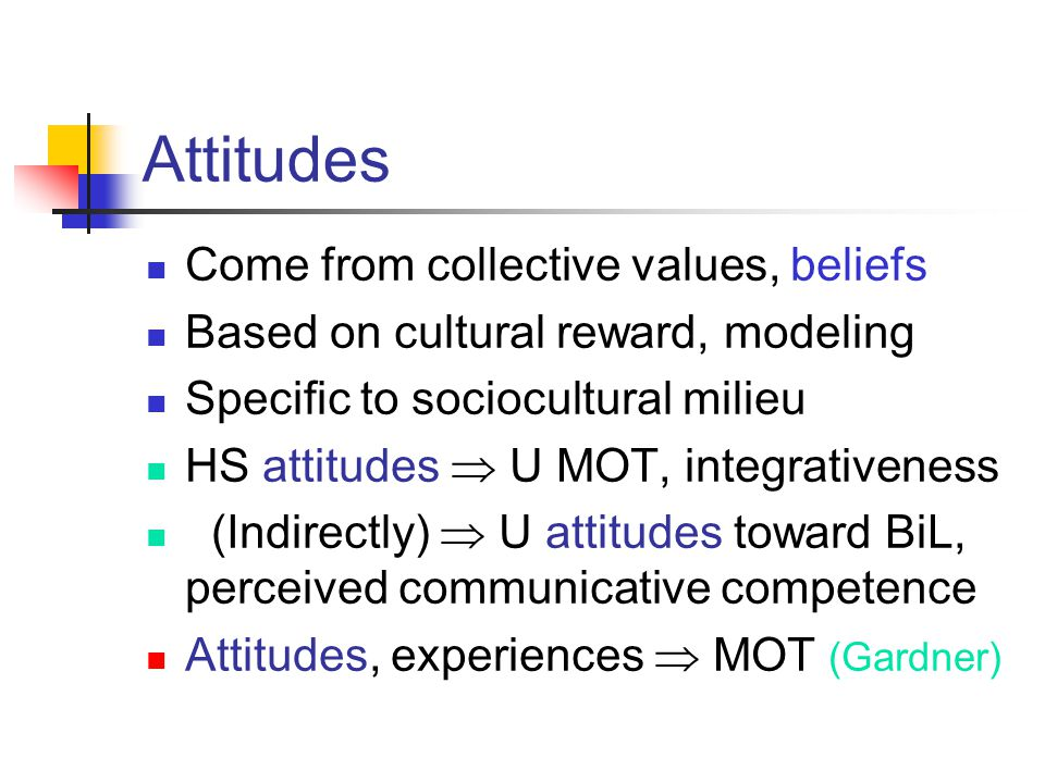 Attitudes Come from collective values, beliefs