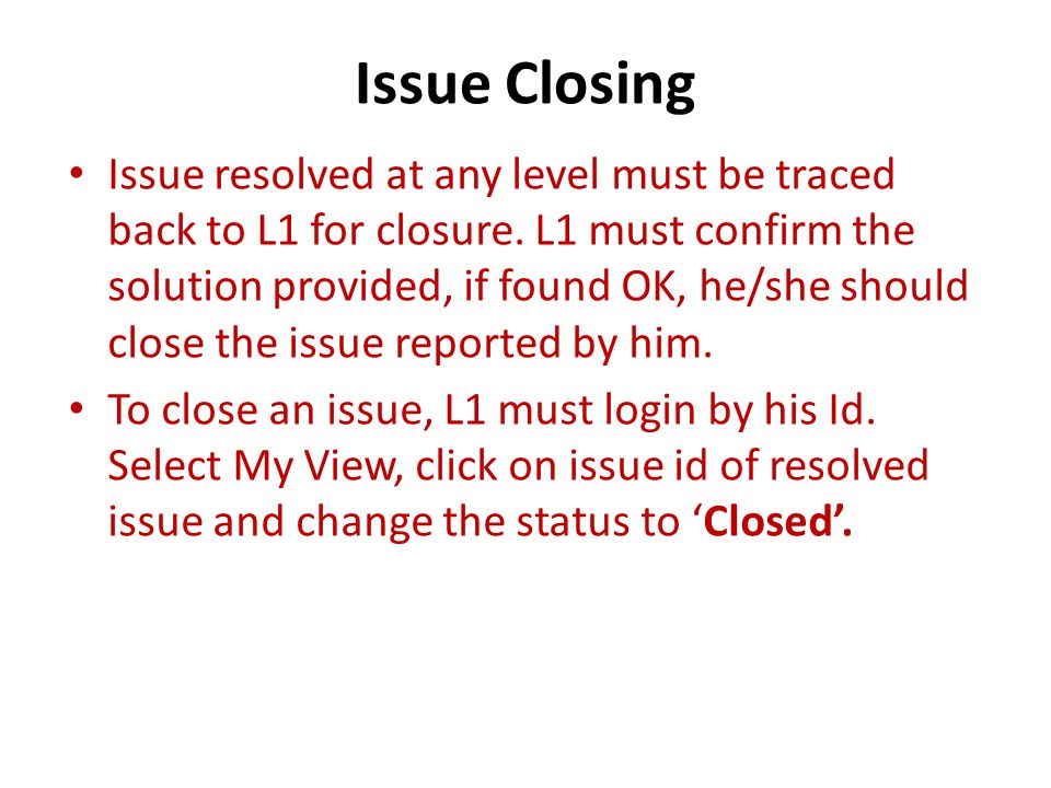 Issue Closing