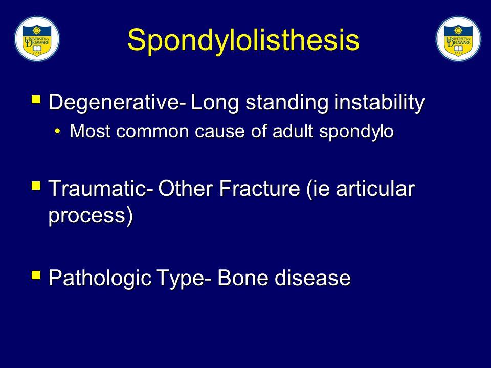 Spondylolisthesis Degenerative- Long standing instability