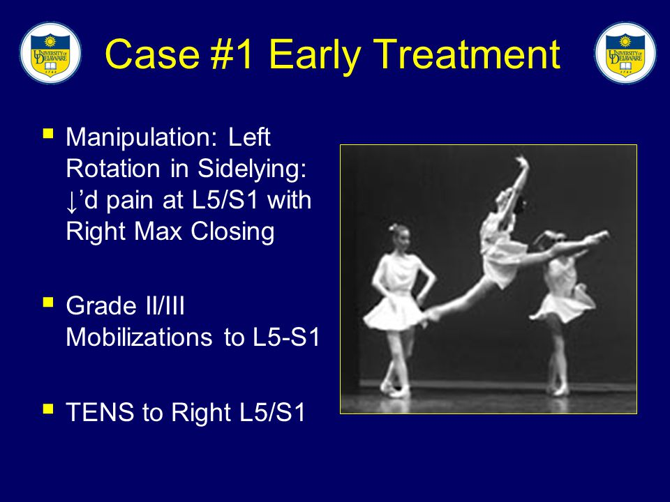 Case #1 Early Treatment Manipulation: Left Rotation in Sidelying: ↓'d pain at L5/S1 with Right Max Closing.