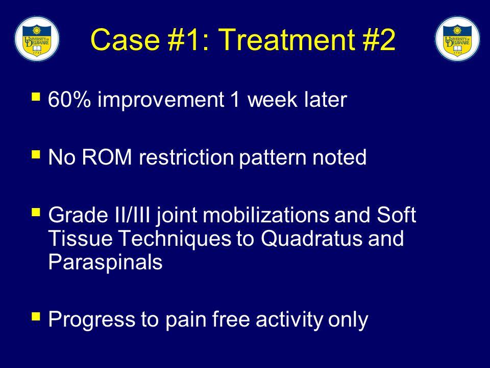 Case #1: Treatment #2 60% improvement 1 week later