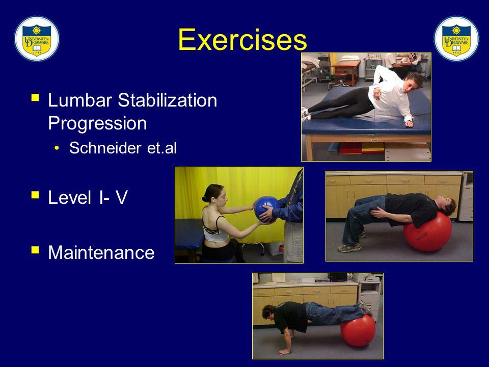 Exercises Lumbar Stabilization Progression Level I- V Maintenance