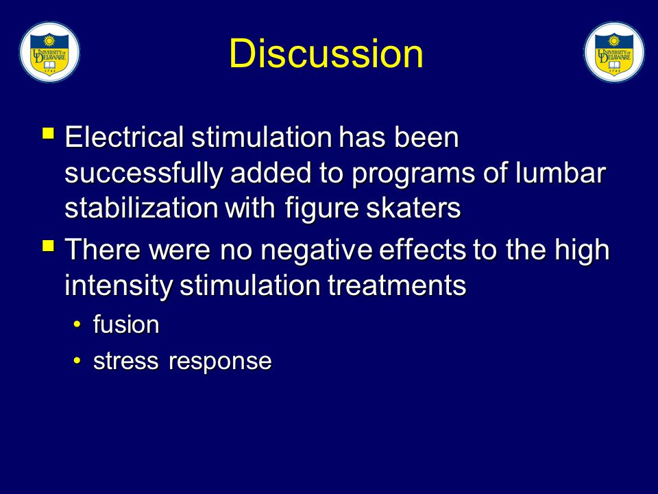 Discussion Electrical stimulation has been successfully added to programs of lumbar stabilization with figure skaters.