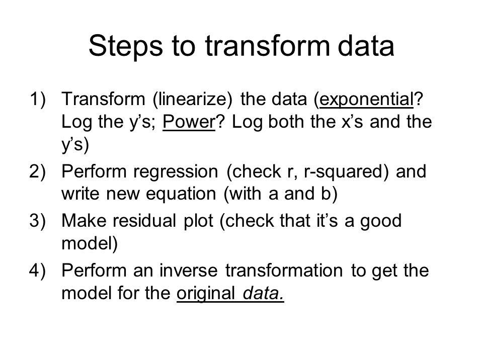 Steps to transform data