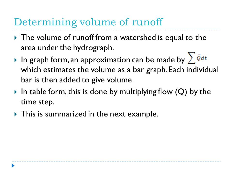 Determining volume of runoff