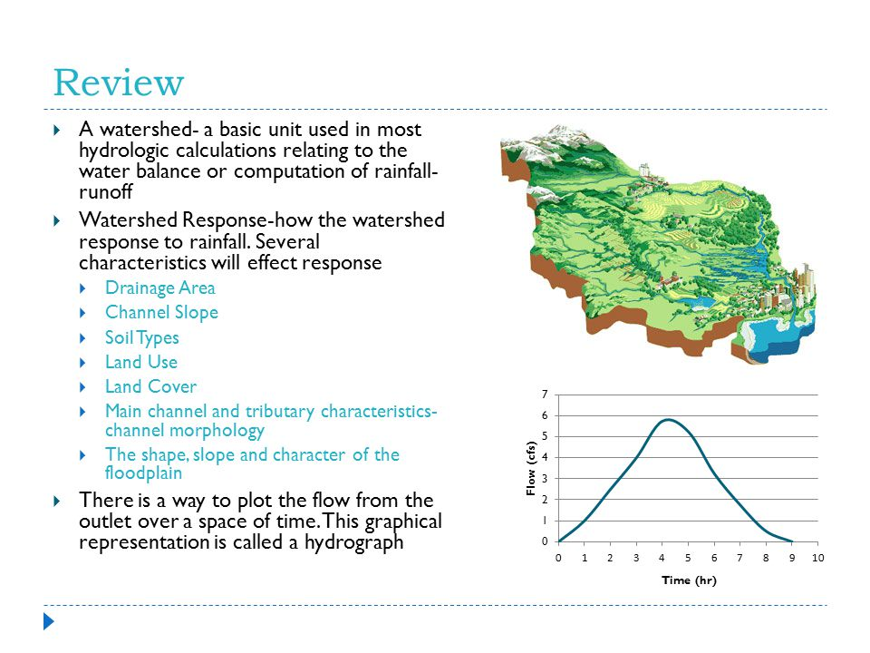 Review A watershed- a basic unit used in most hydrologic calculations relating to the water balance or computation of rainfall- runoff.