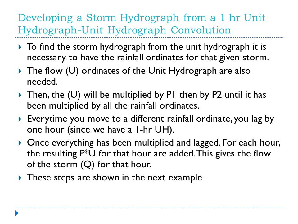 Developing a Storm Hydrograph from a 1 hr Unit Hydrograph-Unit Hydrograph Convolution