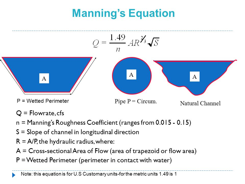 Manning's Equation A. A. A. P = Wetted Perimeter. Pipe P = Circum. Natural Channel.
