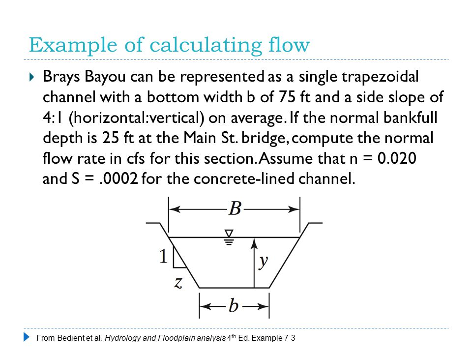 Example of calculating flow