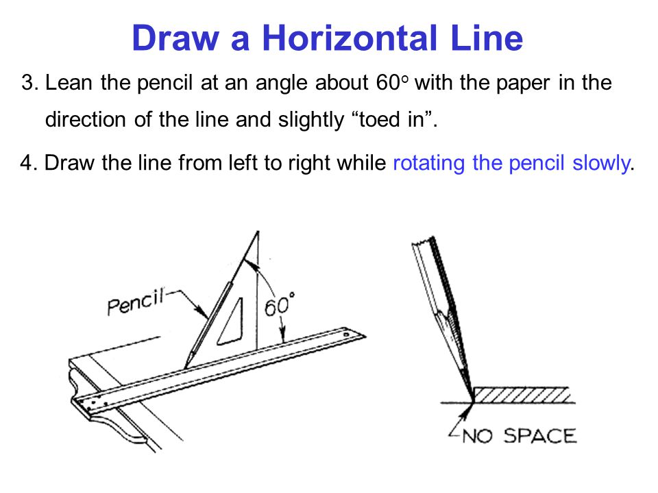 Draw a Horizontal Line 3. Lean the pencil at an angle about 60o with the paper in the direction of the line and slightly toed in .