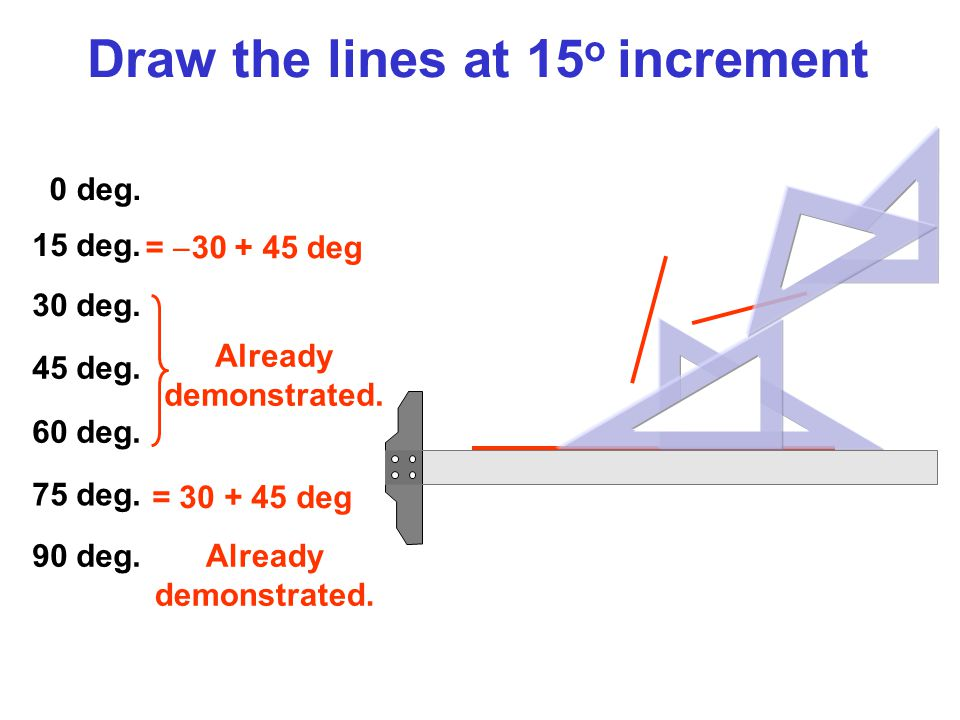 Draw the lines at 15o increment
