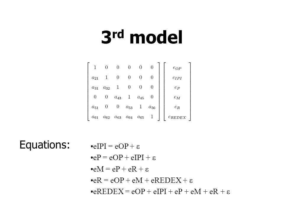 3rd model Equations: eIPI = eOP +  eP = eOP + eIPI + 