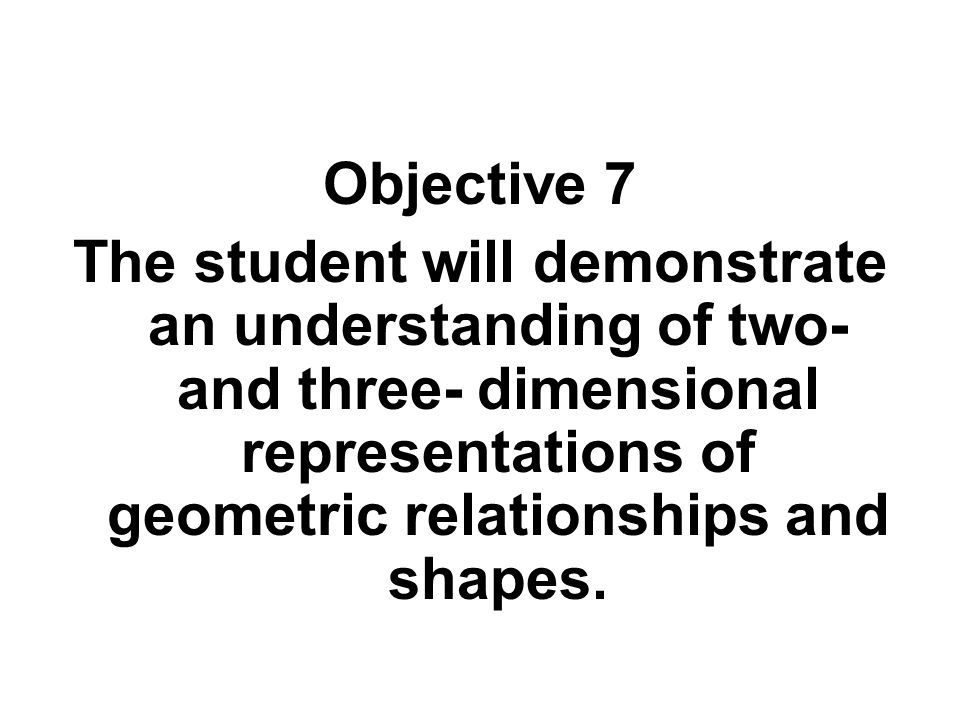 Objective 7 The student will demonstrate an understanding of two- and three- dimensional representations of geometric relationships and shapes.
