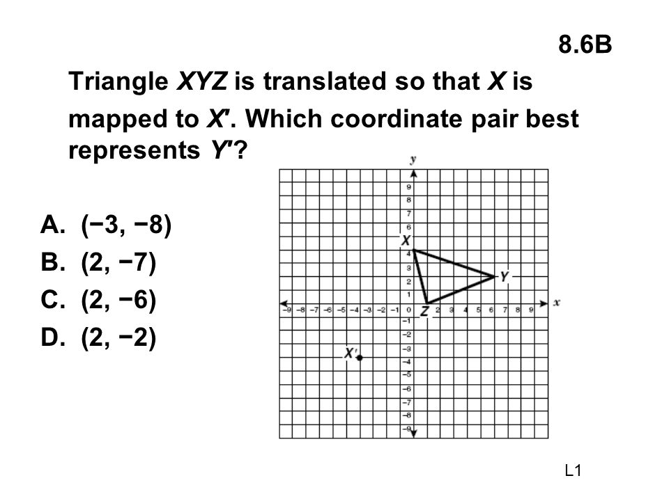 Triangle XYZ is translated so that X is