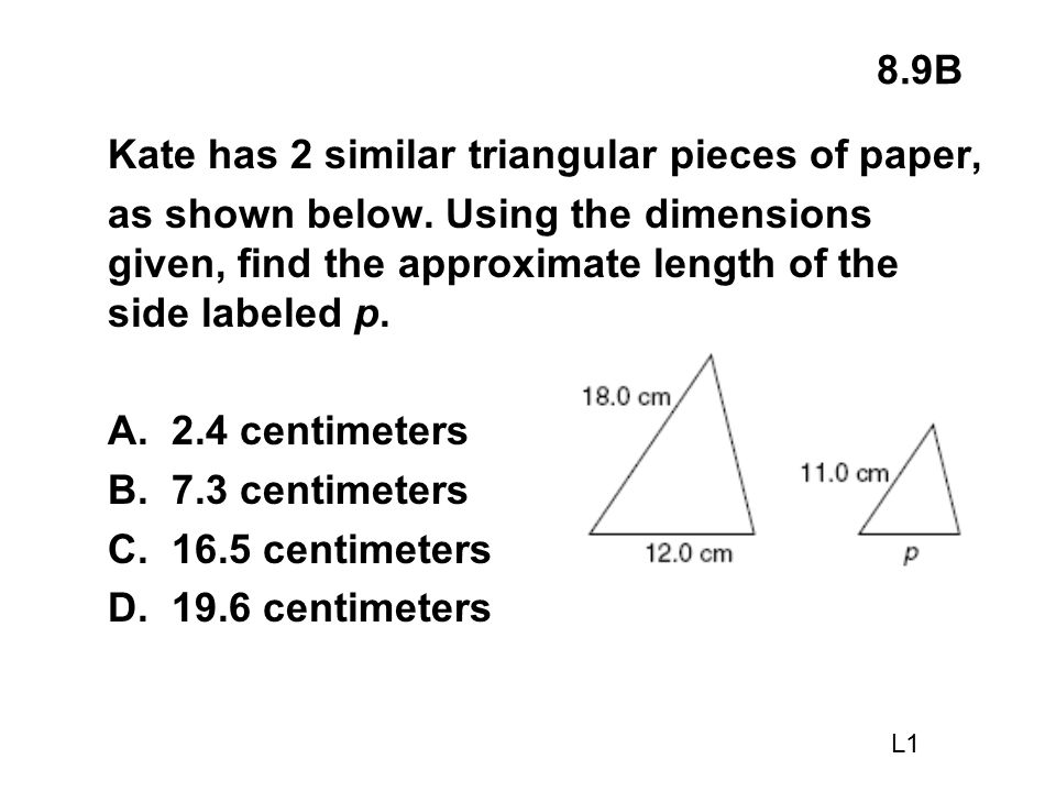 Kate has 2 similar triangular pieces of paper,