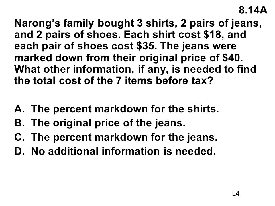 A. The percent markdown for the shirts.