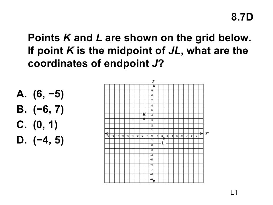 8.7D Points K and L are shown on the grid below. If point K is the midpoint of JL, what are the coordinates of endpoint J