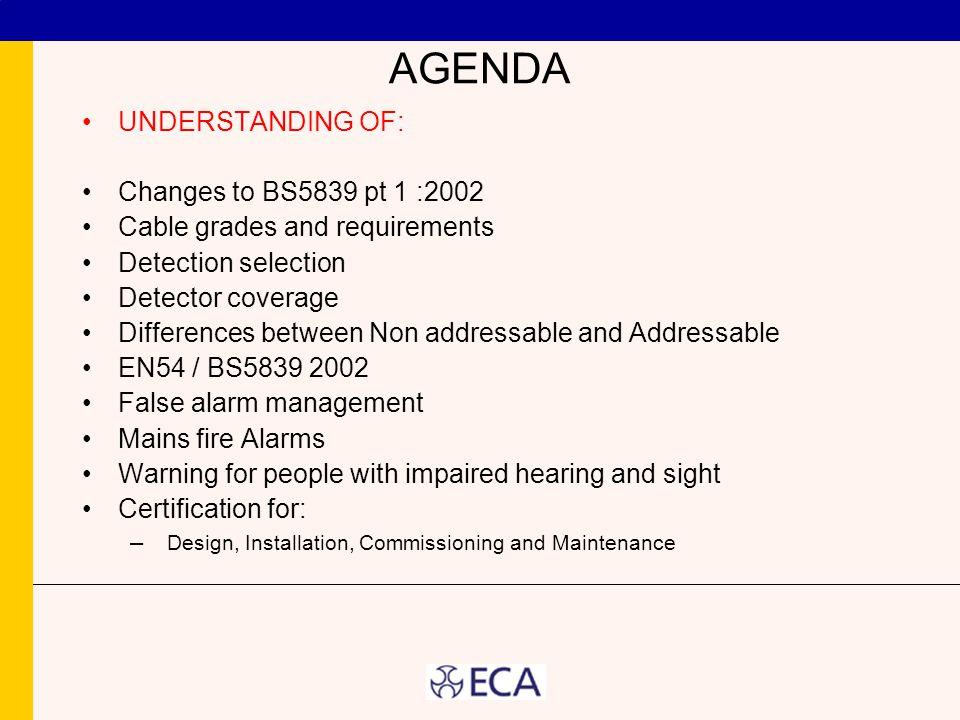 AGENDA UNDERSTANDING OF: Changes to BS5839 pt 1 :2002