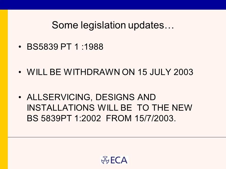 Some legislation updates…