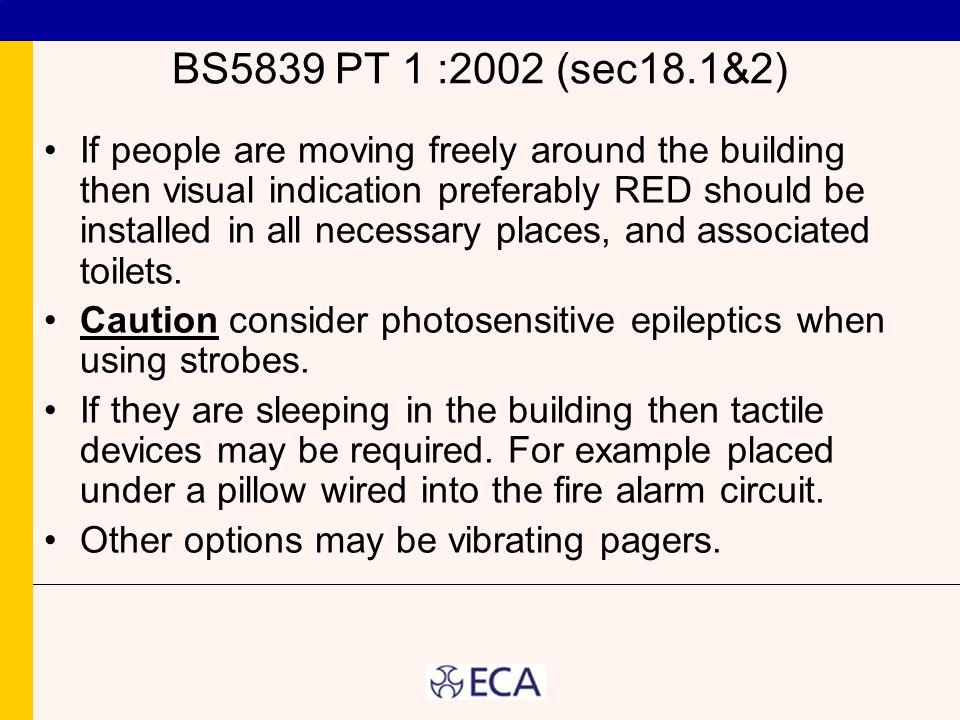 BS5839 PT 1 :2002 (sec18.1&2)