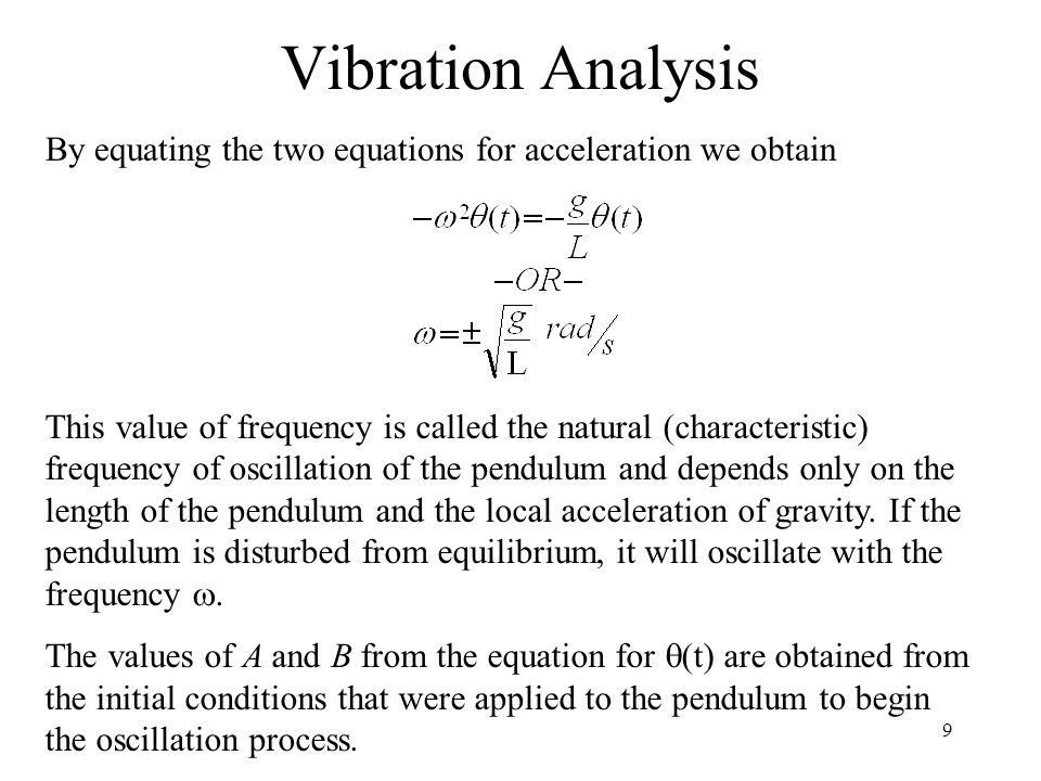 Vibration Analysis By equating the two equations for acceleration we obtain.