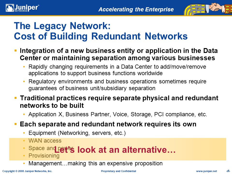 The Legacy Network: Cost of Building Redundant Networks