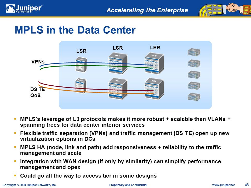 MPLS in the Data Center LSR. LER. LSR. VPNs. DS TE QoS.