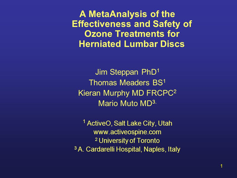 A MetaAnalysis of the Effectiveness and Safety of Ozone Treatments for Herniated Lumbar Discs