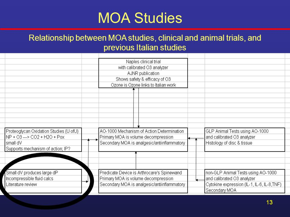 MOA Studies Relationship between MOA studies, clinical and animal trials, and previous Italian studies.
