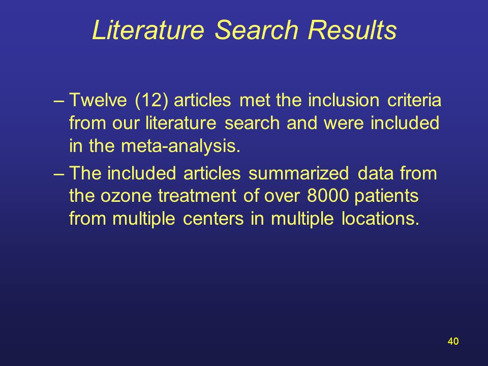 Literature Search Results
