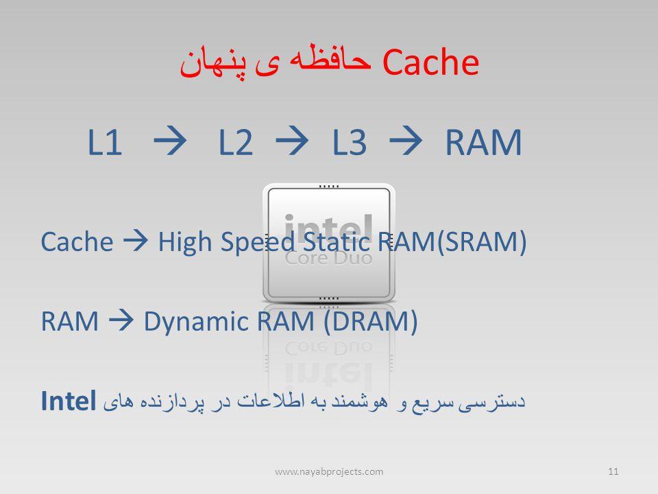 Cache حافظه ی پنهان L1  L2  L3  RAM