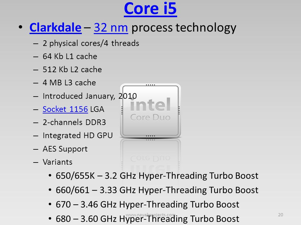 Core i5 Clarkdale – 32 nm process technology
