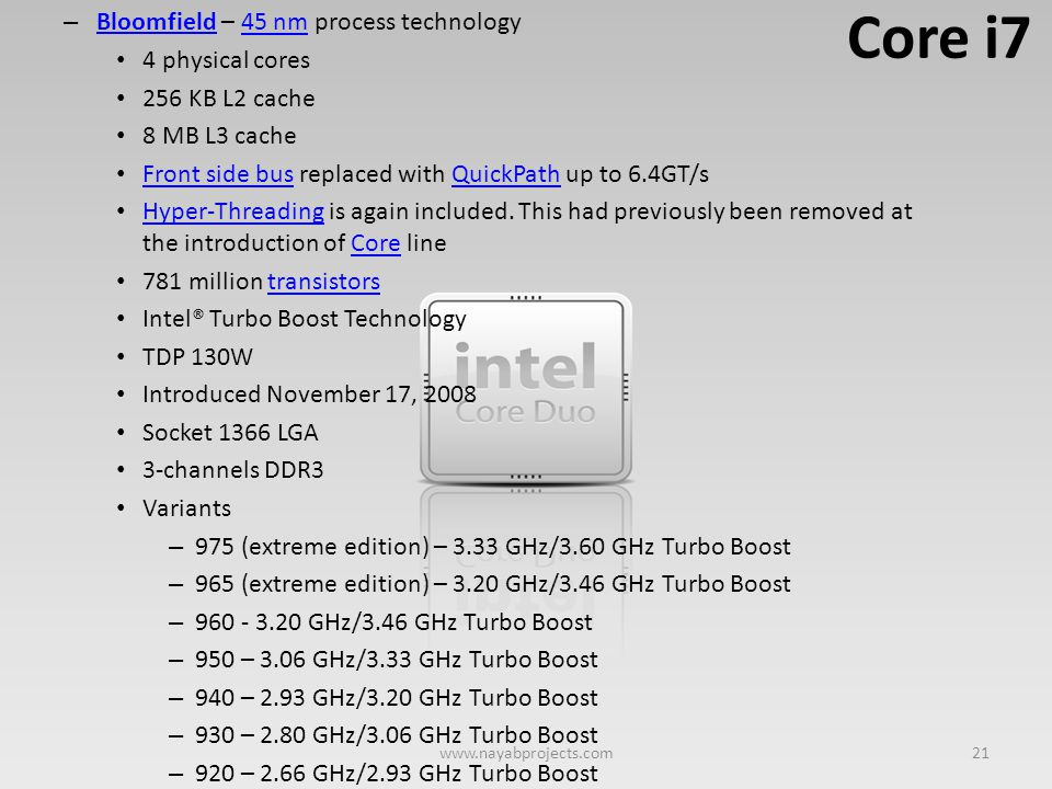 Core i7 Bloomfield – 45 nm process technology 4 physical cores