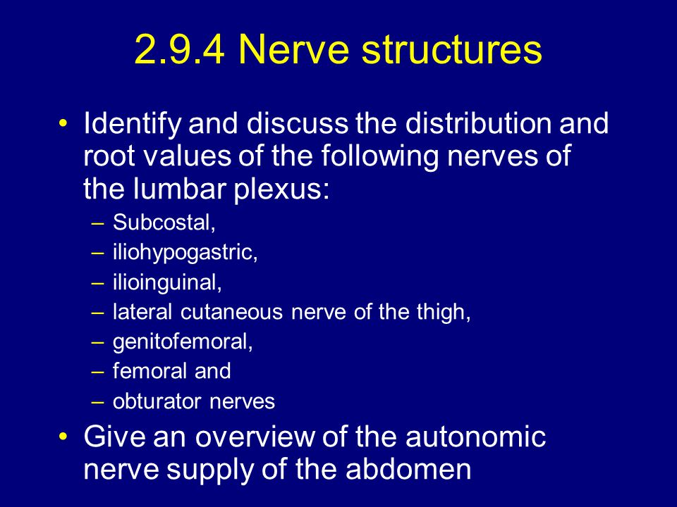 2.9.4 Nerve structures Identify and discuss the distribution and root values of the following nerves of the lumbar plexus:
