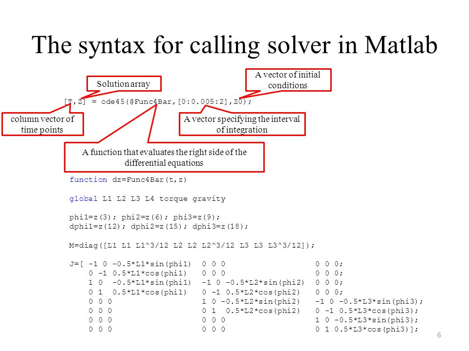 The syntax for calling solver in Matlab