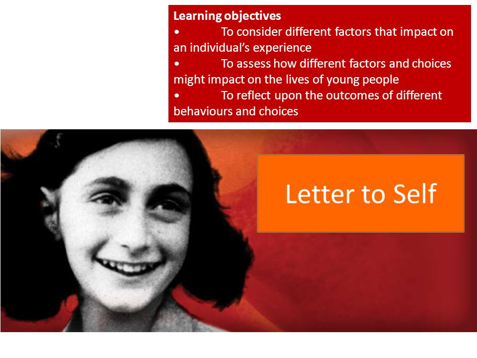 Letter to Self Learning objectives
