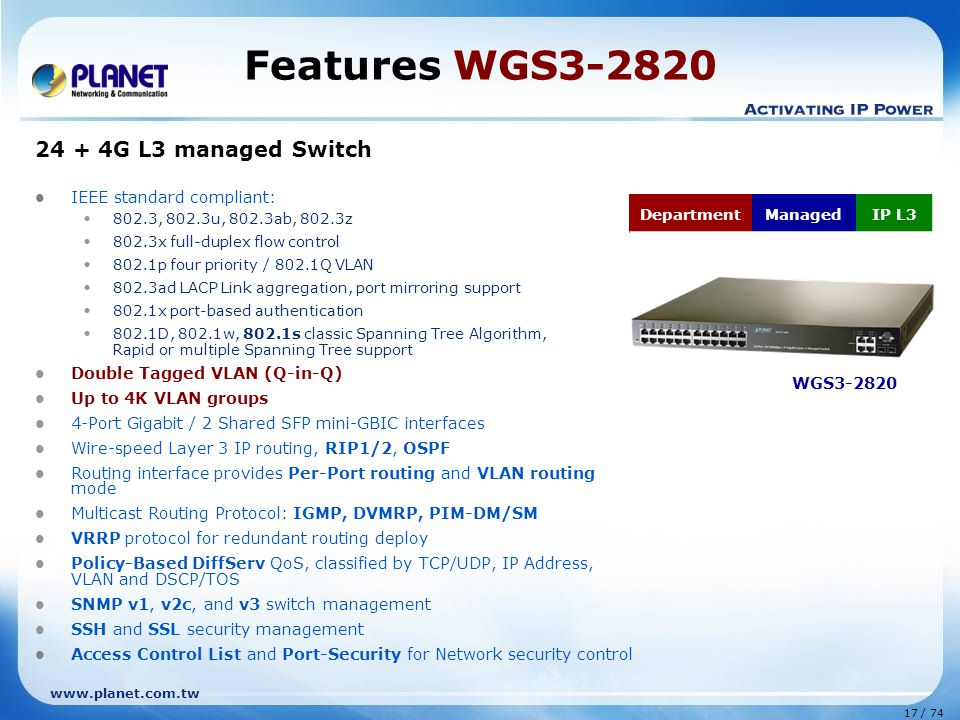 Features WGS3-2820 24 + 4G L3 managed Switch IEEE standard compliant: