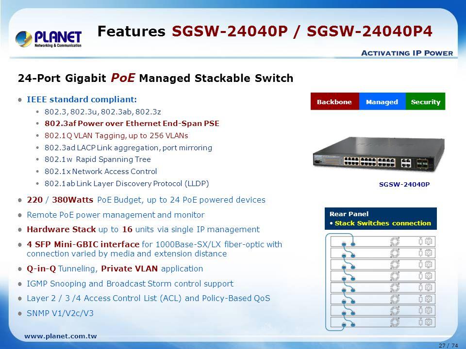 Features SGSW-24040P / SGSW-24040P4