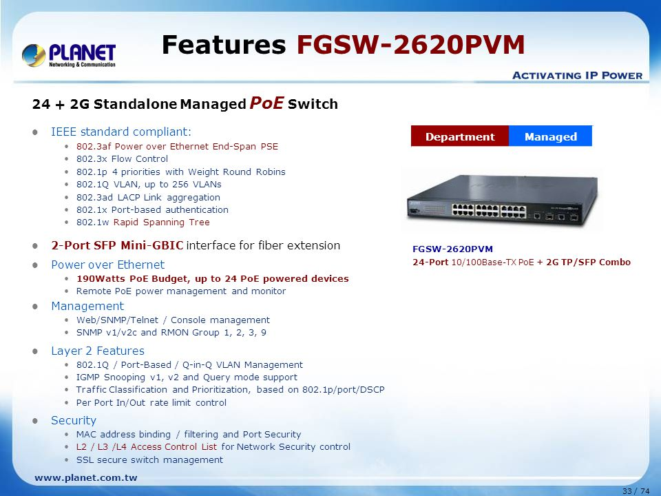 Features FGSW-2620PVM 24 + 2G Standalone Managed PoE Switch