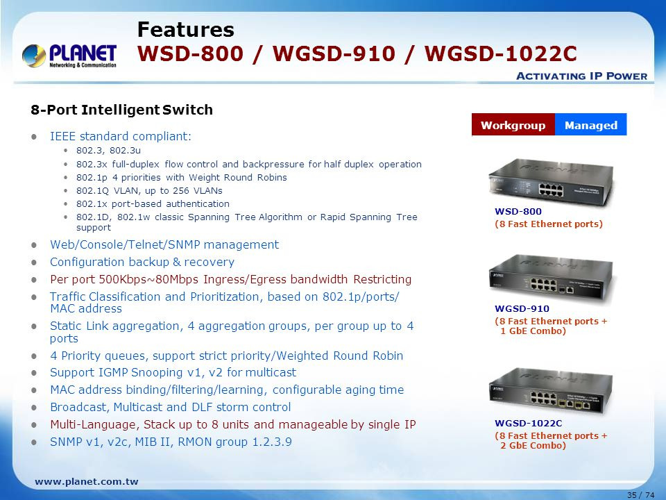 Features WSD-800 / WGSD-910 / WGSD-1022C