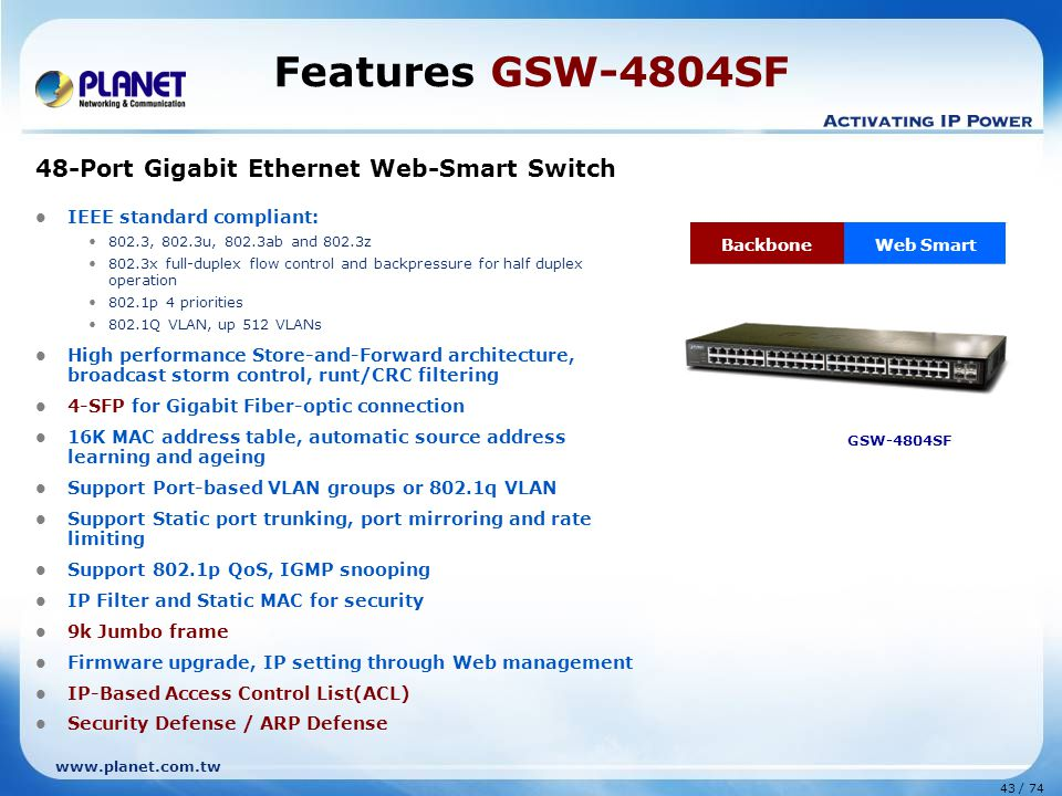 Features GSW-4804SF 48-Port Gigabit Ethernet Web-Smart Switch