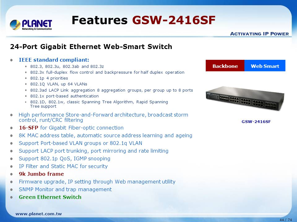 Features GSW-2416SF 24-Port Gigabit Ethernet Web-Smart Switch