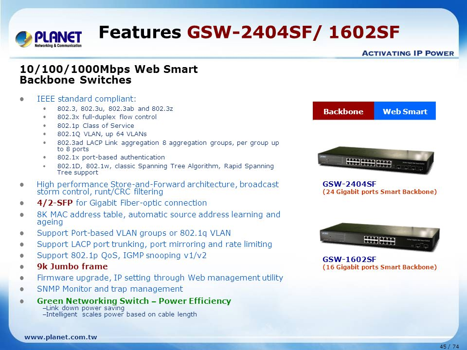 Features GSW-2404SF/ 1602SF 10/100/1000Mbps Web Smart