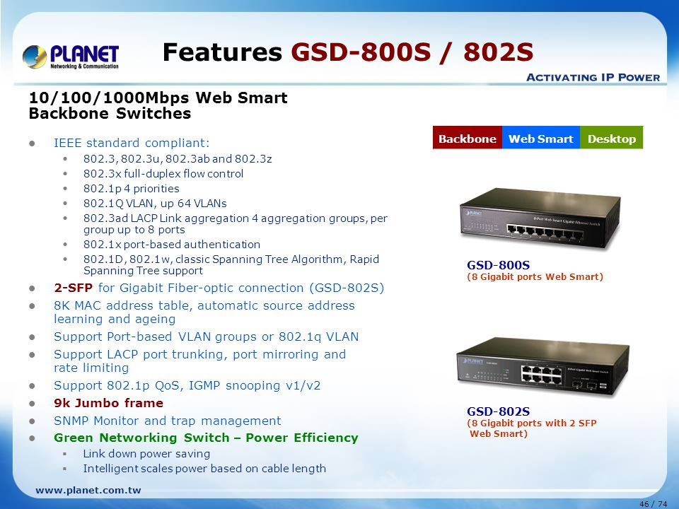 Features GSD-800S / 802S 10/100/1000Mbps Web Smart Backbone Switches