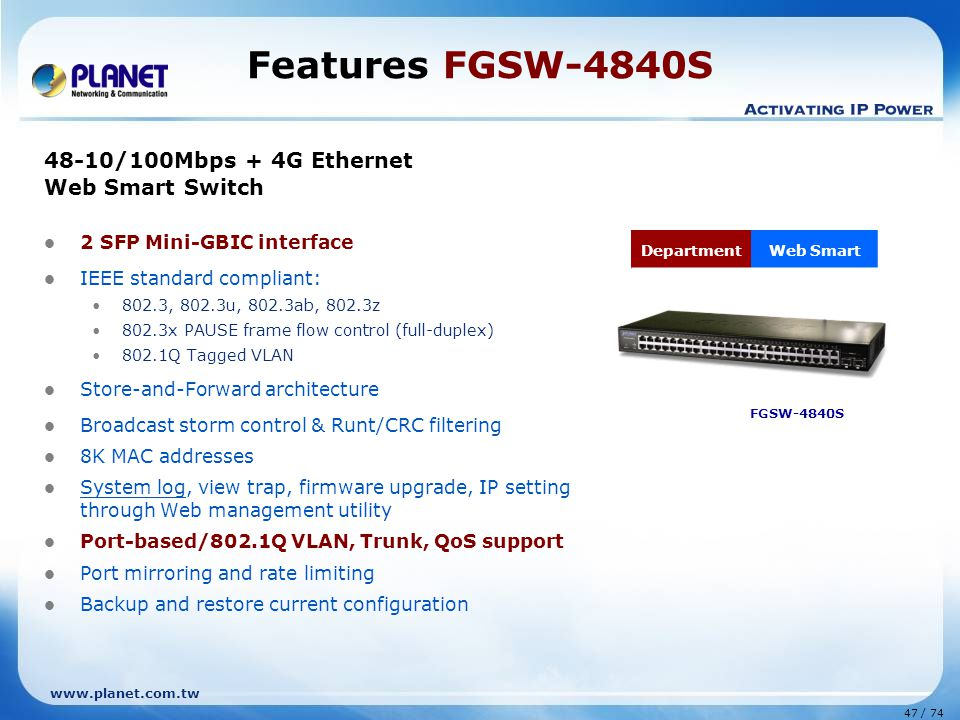 Features FGSW-4840S 48-10/100Mbps + 4G Ethernet Web Smart Switch