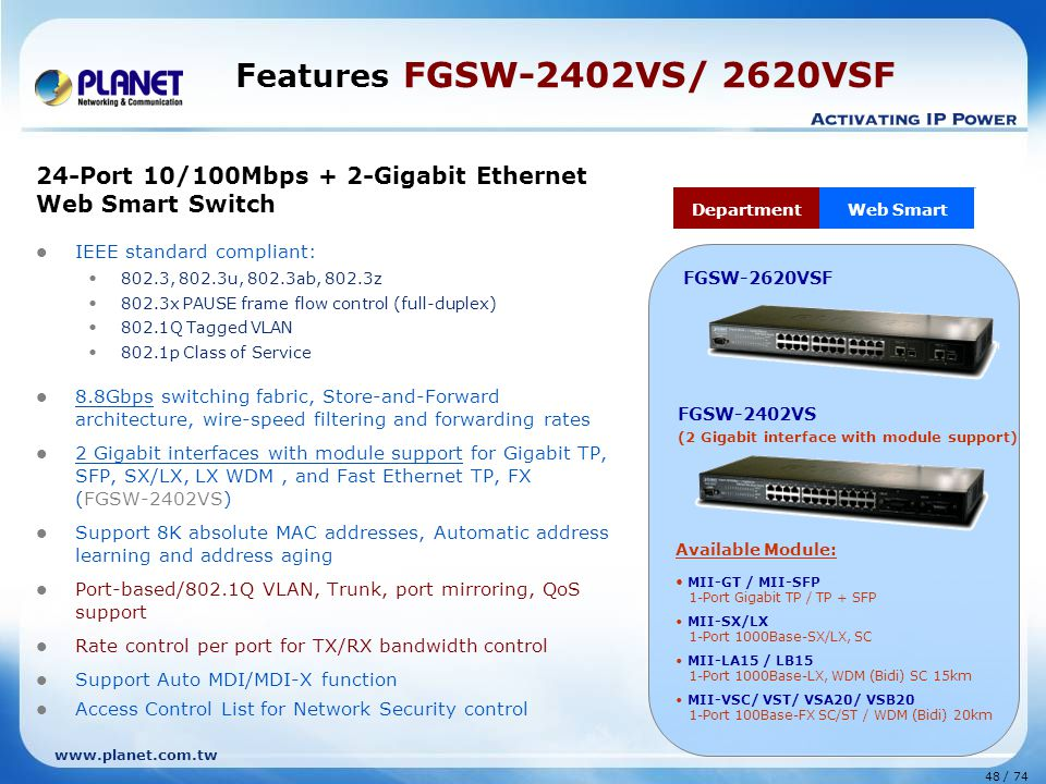 Features FGSW-2402VS/ 2620VSF 24-Port 10/100Mbps + 2-Gigabit Ethernet