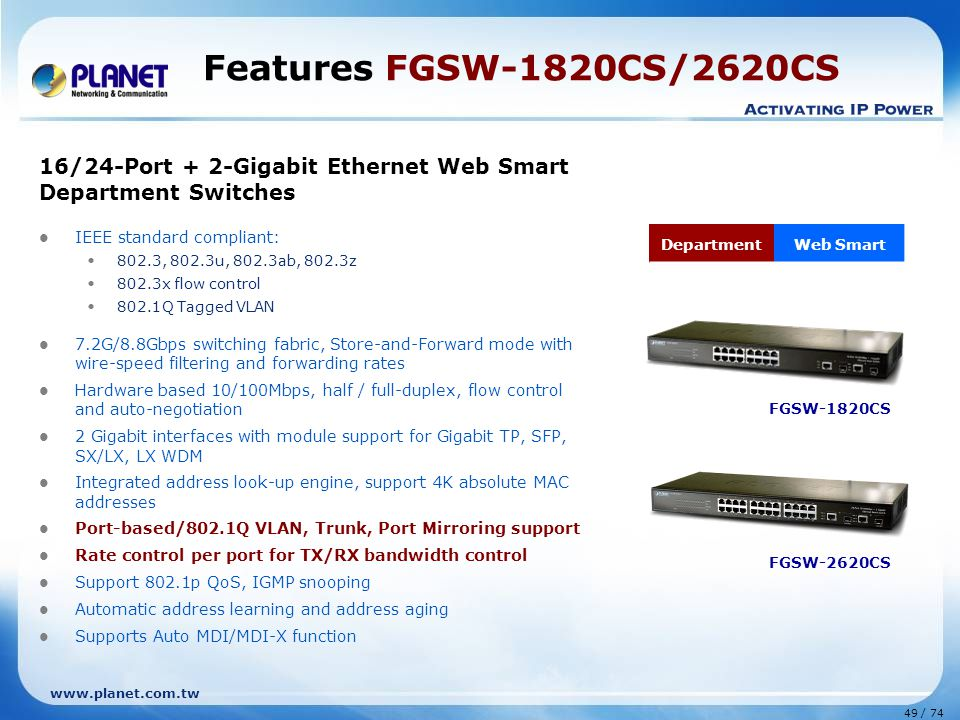 Features FGSW-1820CS/2620CS 16/24-Port + 2-Gigabit Ethernet Web Smart